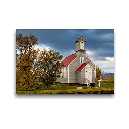 Premium Textil-Leinwand 45 x 30 cm Quer-Format Die alte Kirche von Reykholt | Wandbild, HD-Bild auf Keilrahmen, Fertigbild auf hochwertigem Vlies, Leinwanddruck von Ingrid Steiner