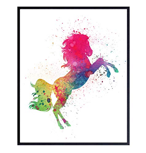 Horse Wall Art Print - Colorful Watercolor Home Decor Perfect for Bedroom, Bathroom, Living Room, Childrens, Childs or Kids Room - Makes a Great Gift for Women and Girls - 8x10 Photo - Unframed