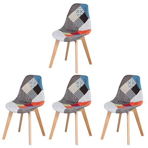 Stuhl 4er Set,Retro Gepolsterter Esszimmerstühle Holz Küchenstuhl für zu Hause, Büro Wohnzimmer (Red)