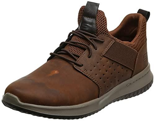 Skechers Delson-Axton, Zapatillas sin Cordones Hombre, Marrón (CDB Black Gray Leather), 43 EU