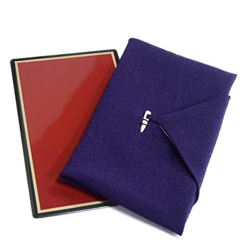 正絹ちりめん 漆台付き ふくさ 日本製【紫 パープル 慶弔両用 13129】化粧箱入り 冠婚葬祭