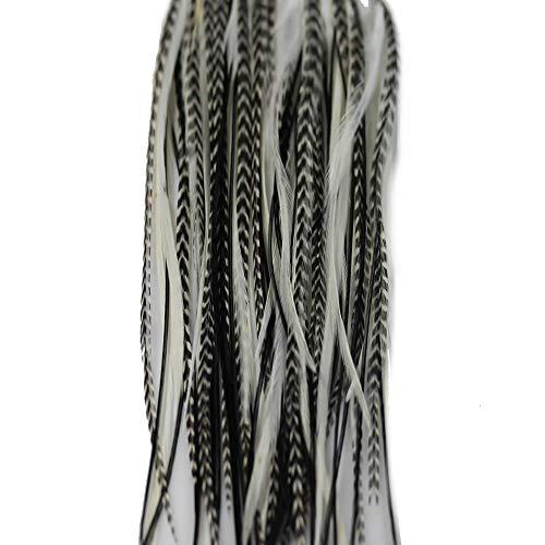 Extensiones de pelo de pluma tipo cebra de SEXY SPARKLES con una longitud de 15 - 28cm, extensiones de pelo con calidad de peluquería, con plumas de gallo americano en blanco y negro