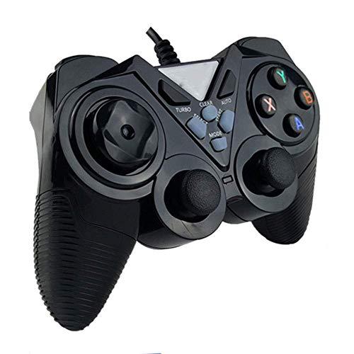 ヘッドフォン ビルトイン非対称モーターサポートコンピュータ/アンドロイドTV/水蒸気/ PS3 /プロジェクター/シミュレータゲーム/Androidのボックス搭載有線ゲームパッドのUSB (Color : Black, Size : Upgraded)