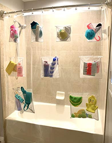Clear Shower Curtain Liner Mesh Pockets Mildew Resistant Bathroom Organizer Shower Caddy GIFT product image