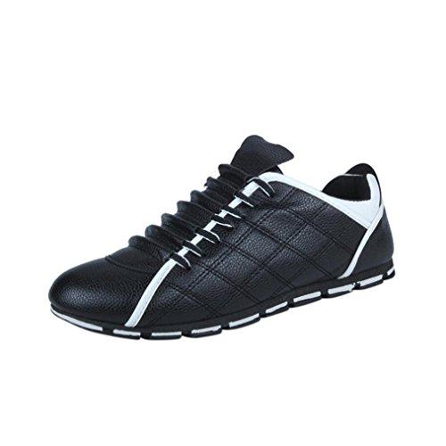Ansenesna Herren Sneaker Leder Elegant International Schuhe Männer Schnürung Flach Arbeitsschuhe Schwarz Blau Weiß (44, Schwarz)