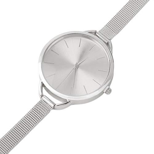 Reloj de Pulsera con Correa de Acero Inoxidable de Malla de Cuarzo Plateado/Dorado clásico Moda, Reloj Exquisito