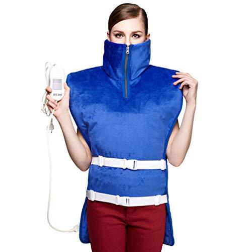 JJDD'G Manta Electrica Espalda y Cuello, Almohadilla Eléctrica Cervical, 3 configuraciones de Calor, 90 Minutos de Apagado automático, Lavable a máquina,Azul