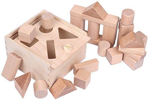 CreaBLOCKS Holzbausteine 2-in-1: Steckbox und Baby-Bauklötze-Set unbehandelte Bauklötze für Kleinkinder ab 6 Monaten Made in Germany