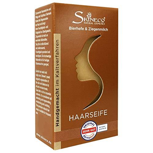 Skineco HAARSEIFE mit Bierhefe & Ziegenmilch, Mildes Natur-Shampoo (1 Stück)