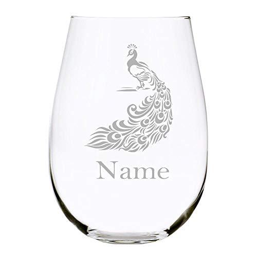Copa de vino sin tallo de pavo real personalizada,Copa de vino grabada grabada,15 oz