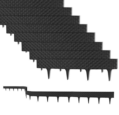 12,8 m Rasenkante mit 16 Elemente 80 cm - Biegbarer Kunststoff in Rattan-Design - Beeteinfassung, Beetumrandung, Palisaden - 20 cm hoch