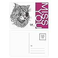 猫は人間のペンキの1つの目 ポストカードセットサンクスカード郵送側20個ミス