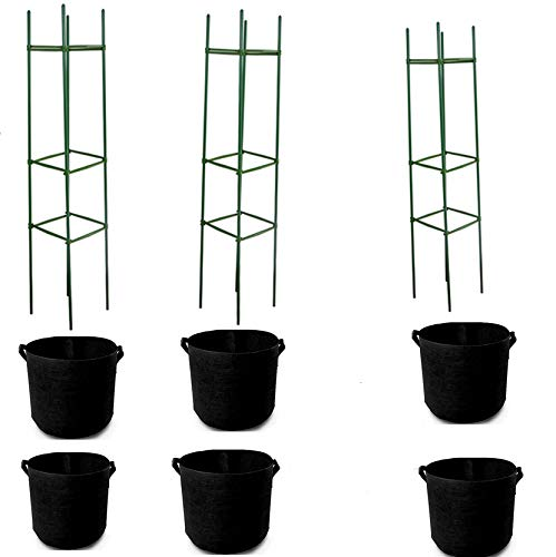 LIYOHENG 6-Pack 7 Gallon Grow Bags And 3 Pack 120cm Height Vegetable Tomato Cage Assembled Plant Support Trellis for Climbing Plants Garden Vegetables