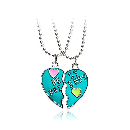 MJartoria BFF Necklaces for 2-Split Heart Green Cute Pendant Best Friends Forever Friendship Best Friends Necklaces for Girls, Sisters