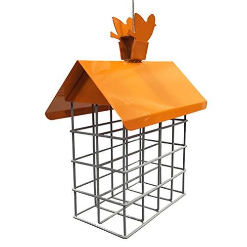 Alimentador de pájaros de alambre de acero, alimentador de pájaros de hierro, jaula de cubo, alimentador de pájaros de metal para colgar, al aire libre, alimentación de loros silvestres