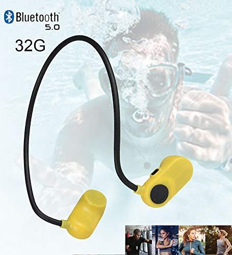 XYQCPJ V31 Bluetooth 5.0 Kopfhörer Schwimmen, Kabellos Knochenleitung Sport Skopfhörer 32G-Speicher IPX8 Wasserdicht Ergonomie Binauraler HD-Stereoanruf Verfügbar zum Tauchen