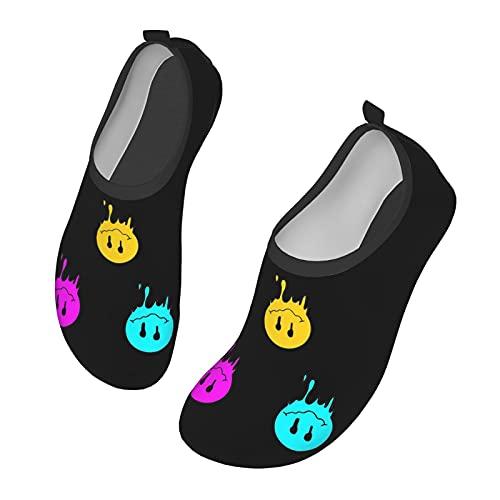 C-shop Smiley Acid Face Water Shoes - Zapatos de deporte acuático para mujer, zapatos de playa para hombre, Black, 34 EU