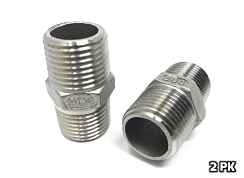 CONCORD 304 Stainless Steel 1/2' NPT to 1/2' NPT Hex Nipple Home Brew. 2 Pack