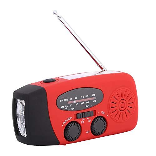 Topiky Solar noodradio-apparaat, draagbare multifunctionele handslinger AM/FM-radio met zonne-oplader/licht-LED-zaklamp/noodlaadfunctie buiten, rood, rood