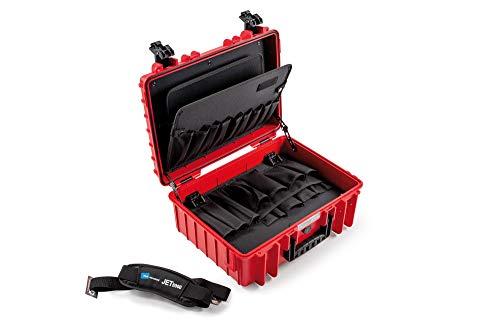 B&W Werkzeugkoffer JET 5000 rot mit Werkzeugeinsteckfächern (Koffer aus PP, Volumen 19,1l, 41,6 x 28,7 x 16 cm innen) 117.17/P-R, ohne Werkzeug