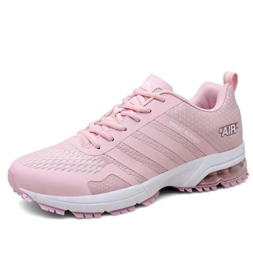 Hombre Mujer Zapatillas de Deporte de Running Deportivas para Trail Fitness Casual Sneakers Rosa 39 EU