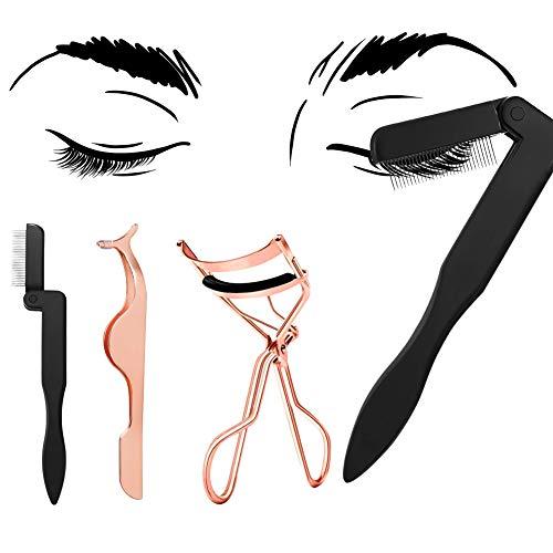 4 PCS Eyelash Makeup Tools Set, Eyelash Curler Folding Metal Teeth Eyelash Comb Seperator Eyebrow Comb Mascara Comb Brush And Falses Eyelashes Extension Tweezer For Women Asian Eyes Straight Lashes