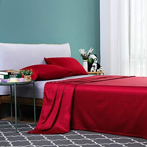 Vanc Home Mako Satin Bettlaken Ägyptische Baumwolle Einfarbig Betttuch (Rot, 290x300cm)