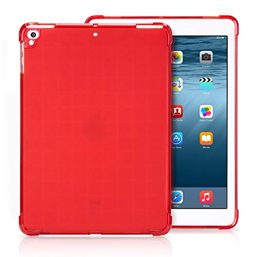 YANSHANG Protective Phone Shell Transparent TPU Full Edge Thicken Corners Shockproof Soft Protective Case for iPad 9.7 (2018) / 9.7 (2017) / air / air2 (Color : Red)