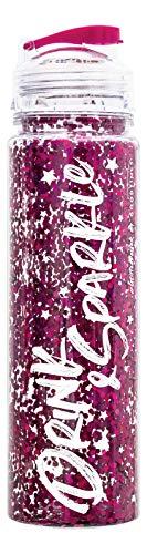 Goodtimes Drink & Sparkle Glitzer Trinkflasche 500ml Transparent Rosa mit Verschluss für Kinder, Sport, Schule, Rosa
