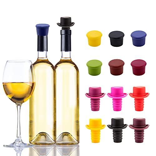 MHwan Tapones para Botellas de Vino al vacío, tapón de Vino de Silicona, Tapas de Botellas de Vino de Champagne Tapas de Cerveza Reutilizables para la Fiesta de Bar Festiva de Navidad, 12 Piezas
