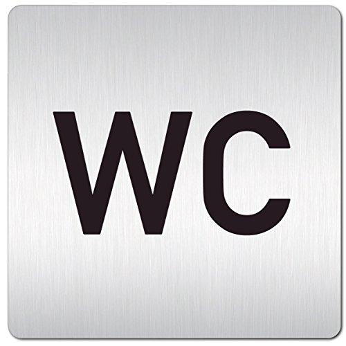 Kinekt3d Leitsysteme XXL Schild - Türschild • 125 x 125 mm • WC/Toiletten - Schild • 1,5 mm Aluminium Vollmaterial • 100% Made in Germany