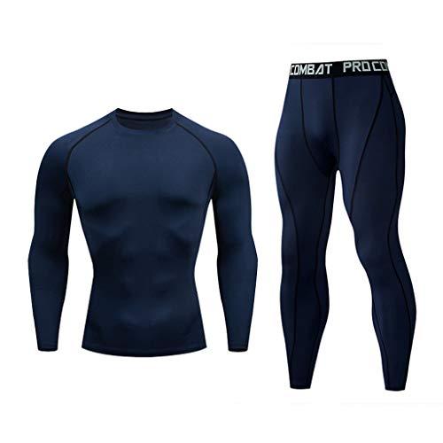 Yowablo Herren Cool Dry Compression Shirt Running Baselayer T-Shirts und Hosen Sport Set (XL,11- Marine)