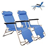 Livebest Set of 2 Lounge Chairs Folding Cot 2-in-1 Portable Reclining Beach Chair for Yard Garden Pool