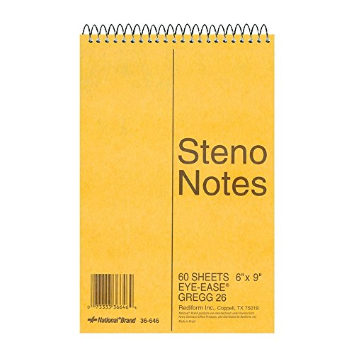 "National Steno Notebook with Brown Board Cover, Green Paper, Gregg Ruled, 6"" x 9"", 12 Notebooks with 60 Sheets Each (36646-12)"