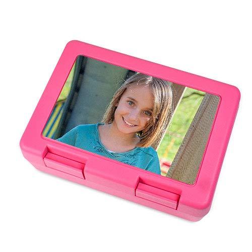 Kinder Brotdose bedruckt mit deinem eigenen Foto - Logo bedrucken Pink