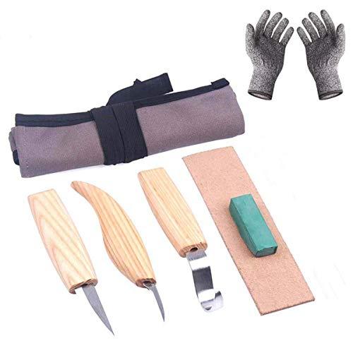 Winkelschleifscheibe Schleifen von Holz-Schnitzen DIY Hand Meißel Holzschnitzerei Werkzeug Chip Schneider mit schnittfesten Handschuhe Craft 6pcs Holzschnitzerei Ausstecher