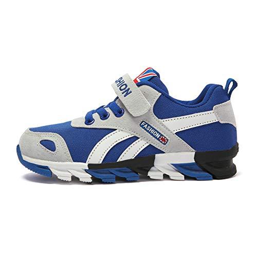 Powtech Turnschuhe Kinder Sneaker Jungen Sportschuhe Mädchen Hallenschuhe Outdoor Laufschuhe Für Unisex-Kinder (EU38=CN39, 856-Graues Blau)