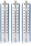 com-four® Termómetro 3X - termómetro analógico para Interior y Exterior - medidor de Temperatura de casa y jardín con Escala en Grados Celsius (03 Piezas - termómetro)