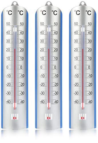 com-four® 3X Thermometer - analoges Thermometer für innen und außen - Haus- und Garten-Temperaturmesser mit Skala in Grad Celsius (03 Stück - Thermometer)