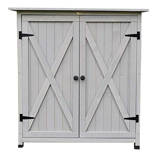 Wooden Garden Cabinet With Double Doors Made Of Spruce Wood And Galvanized Roof, 1180 X 550 X 1100 Mm,Grey