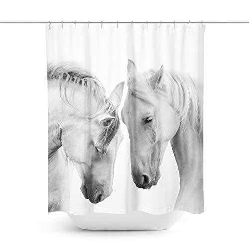 Toll2452 Cortina de ducha para caballo, color blanco, cortina de ducha de caballo, cortina de baño de caballo, cortina de baño de caballo, decoración de baño