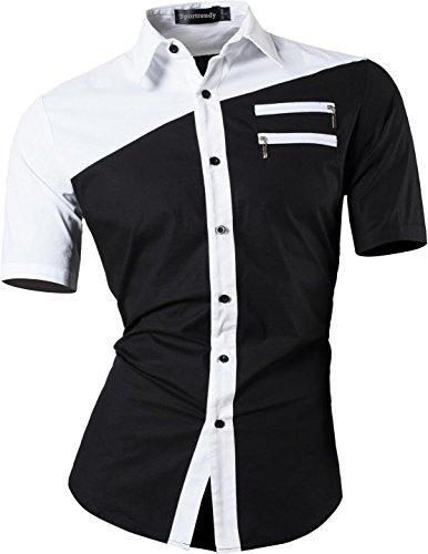 Sportrendy Herren Freizeit Hemden Slim Button Down Short Sleeves Dress Shirts Tops JZS061 Black XL