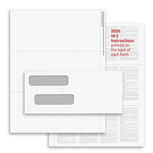 2020 3-Up W-2 Tax Forms (100 Sheets & Envelopes) for Laser or Inkjet, 24 lb. Paper, Instructions Printed on The Back, Compatible with QuickBooks and Accounting Software