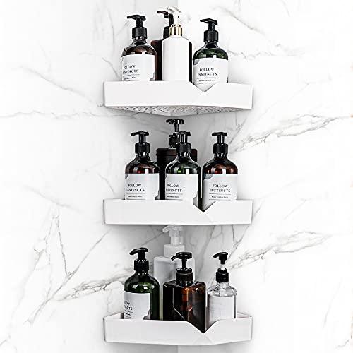 Yorbay Estantería de ducha sin taladrar con material de montaje triangular, estantería de baño de plástico ABS, 3 piezas en un juego, color blanco