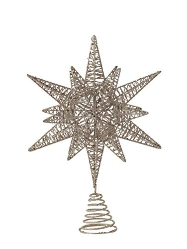 Creative Co-op Multidimensional Star Tree Topper with Gold Glitter Metal Ornaments