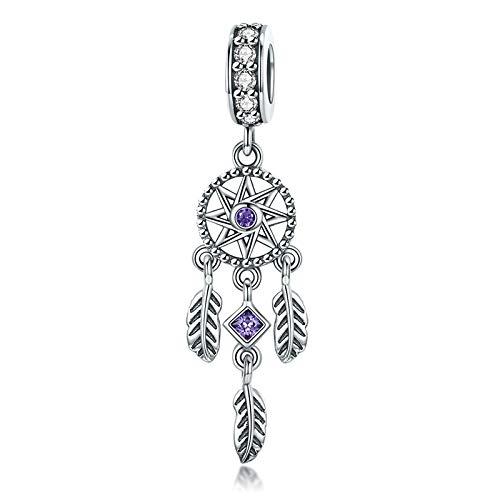 Abalorios Mujer plata,Dreamcatcher Charm Purple CZircon Beads for Fashion Charms Pulsera y collar Accesorios de regalo de joyería Pandora