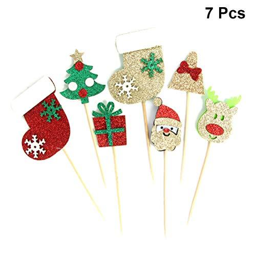 BESTONZON 7PCS Torta di Natale Decorativo Toppers Cupcake Muffin Food Fruit Pick per Party