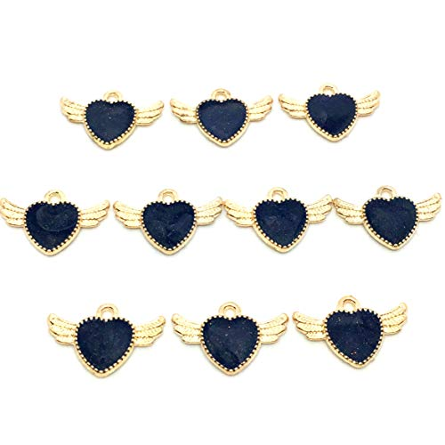 エンジェルハート ハートの翼チャーム(パールブラック)10個 アクセサリーパーツ ハンドメイド 手芸材料 ストアーズクラブ