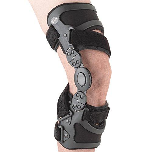 Össur GII Unloader Spirit® Knie-Orthese, Knieschiene, einstellbare Knie-Stütze, Knieorthese mit Gelenk, Gonarthrose-Knieorthese, Farbe:schwarz, Größe:L - Links - Medial
