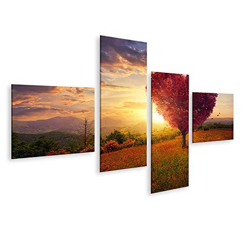 Bild Bilder auf Leinwand Roter herzförmiger Baum Sonnenuntergang Wandbild Poster Leinwandbild GDTA